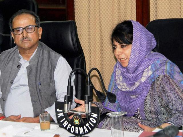 Jammu and Kashmir chief minister Mehbooba Mufti and deputy chief minister Nirmal Singh during a high level meeting with top officials.