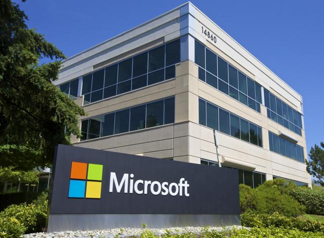 A building on the Microsoft Headquarters campus is pictured  on July 17, 2014 in Redmond, Washington.