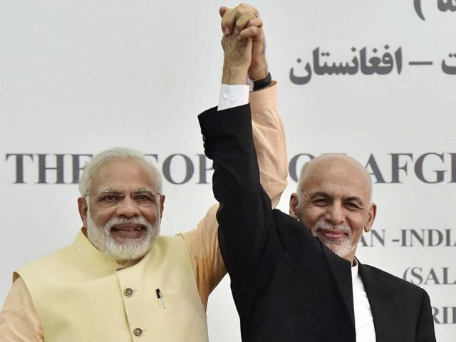 Prime Minister Narendra Modi being conferred with Afghanistan's highest civilian honour, the Amir Amanullah Khan Award by Afghan President Ashraf Ghani in Herat.