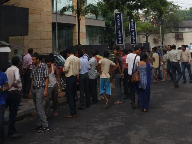 People evacuated buildings after tremors were felt in Kolkata on Wednesday.