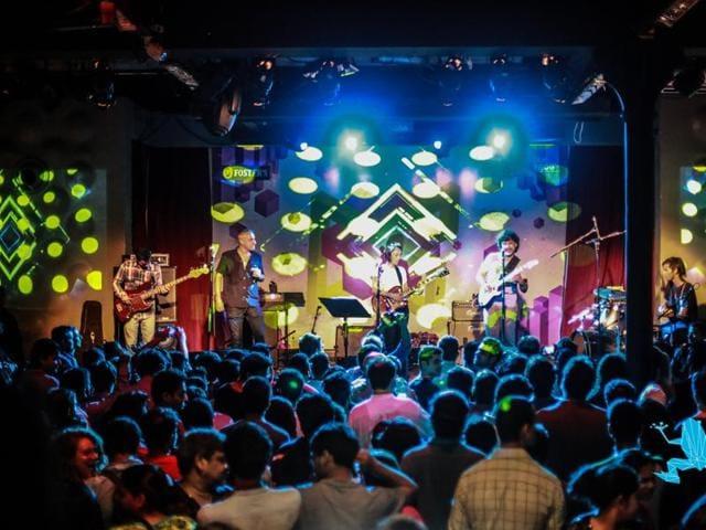 Sheldon D'Silva, Gino Banks, Shefali Alvarez and Kush Upadhyay perform at Blue Frog