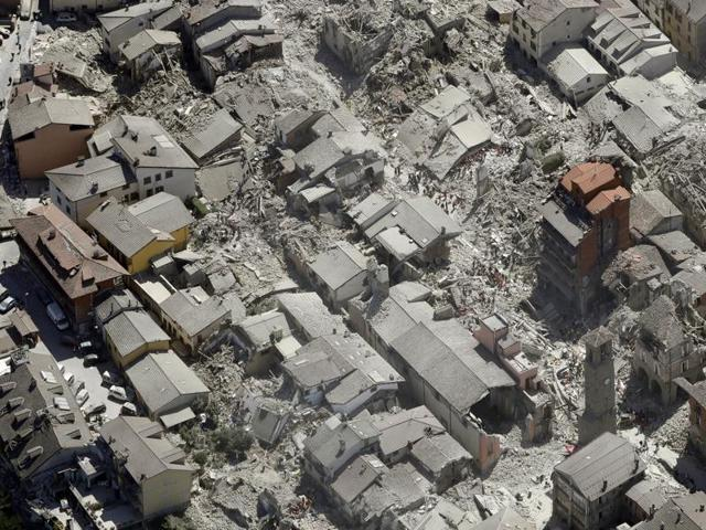 Aerial view of Amatrice in central Italy on Wednesday. (AP Photo)