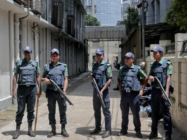 Bangladeshi policemen (pictured above) said Shamim admitted during interrogation that the group killed Faisal Arefin Deepan, owner of Jagriti Prokashoni publishing house, for publishing the books of Avijit Roy, a prominent Bangladeshi-American blogger and writer