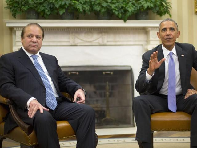 US President Barack Obama with Pakistani Prime Minister Nawaz Sharif in the Oval Office of the White House in Washington.