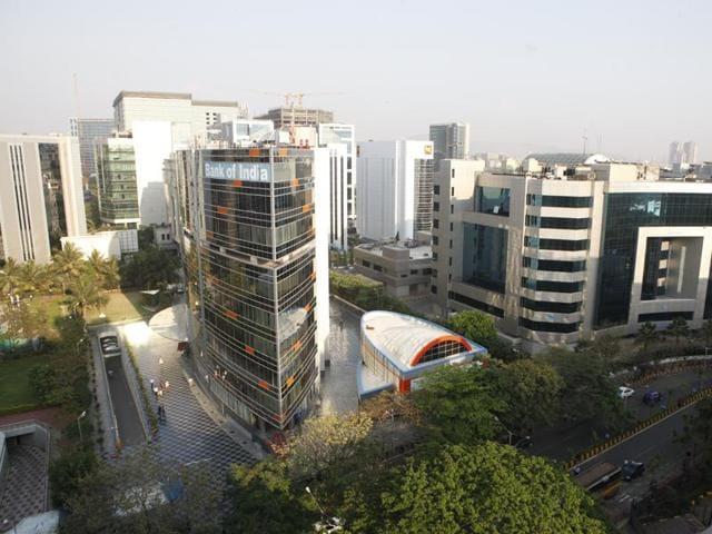 View of BKC from Wockhardt terrace, BKC, Bandra in Mumbai.