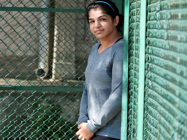 Women wrestler Sakshi Malik during a practice session at wrestling training centre in Rohtak (Haryana)