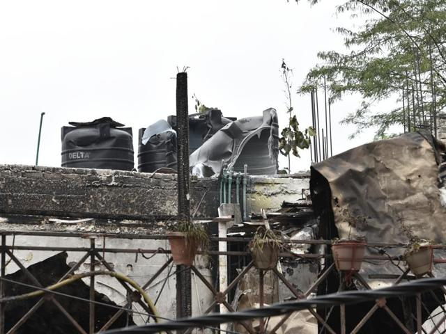 New Delhi: The Hauz Khas apartment where a fire broke out early on Wednesday morning.The fire officials said a short-circuit might have triggered the fire.