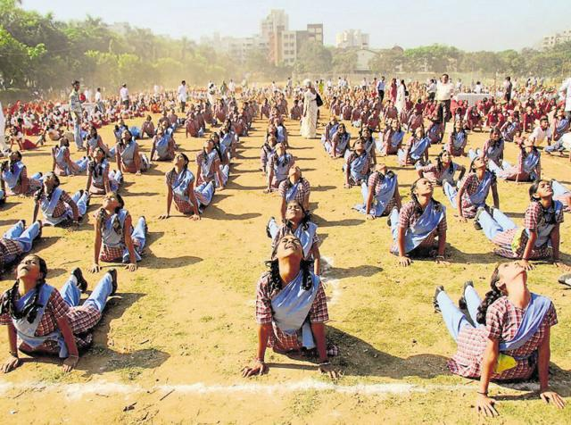 At a time when civic schools face a shortage of teachers, students, and there is a lot of room for improving — and in some cases even providing — basic infrastructure, the emphasis on yoga seems misplaced(Praful Gangurde/HT)