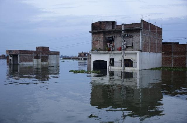 Flooded houses in Allahabad.