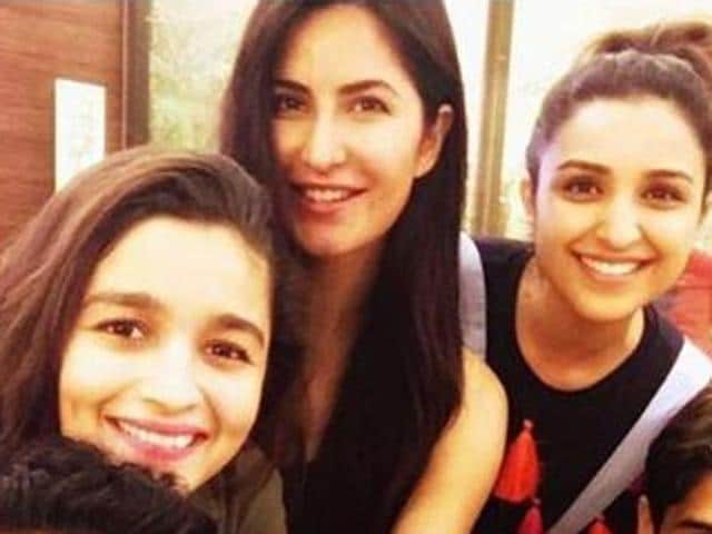 Katrina Kaif, Parineeti Chopra and Alia Bhatt during the US tour of Dream Team.