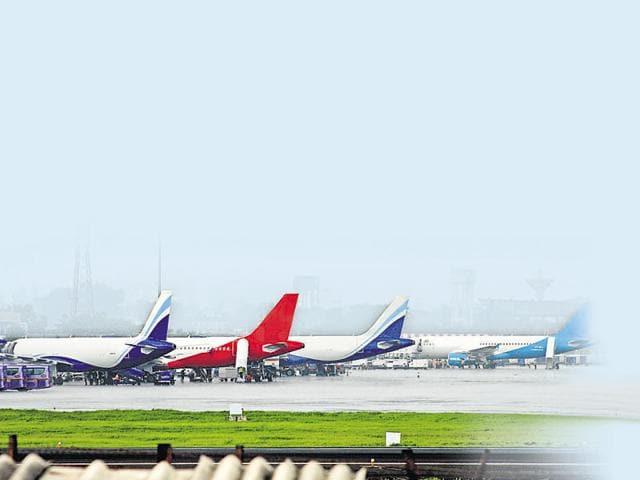Aircraft awaiting take-off clearance at Mumbai airport on Monday.