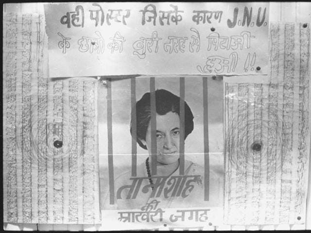 Echoes of the past: A photograph dated 17 April, 1978 that was part of the Revolt Pen Exhibition in New Delhi pillorying Indira Gandhi's excesses during the Emergency. The reference is also to prison camps. Yudas is haunted by his memories of what he is compelled to do in the camps.