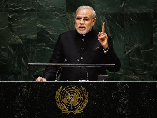 Prime Minister Narendra Modi speaks the United Nations Sustainable Development Summit at the United Nations General Assembly in New York on September 25, 2015.