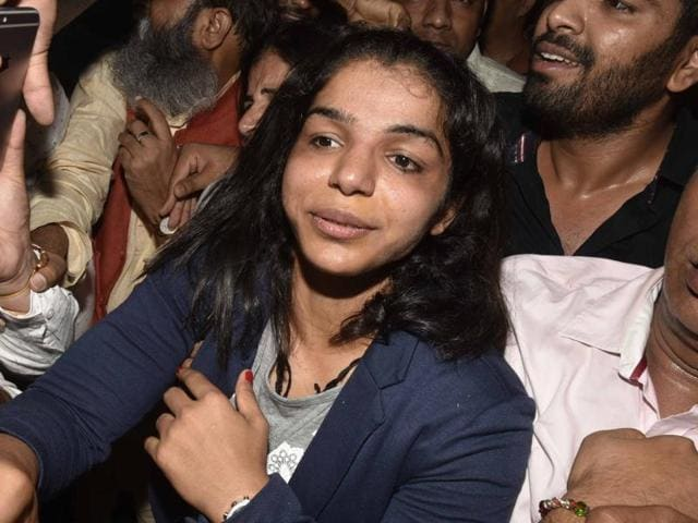 Sakshi Malik returned from Rio de Janeiro after winning a bronze medal for wrestling at the Olympic Games, in New Delhi.