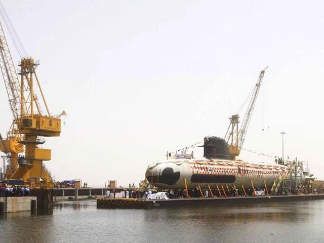 File photo of India's first Scorpene submarine being floated at the Mazagon Docks in Mumbai.