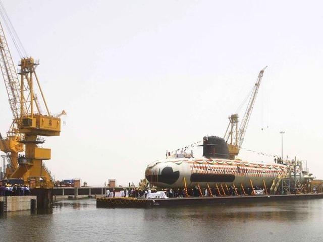 File photo of India's first Scorpene submarine being floated at the Mazagon Docks in Mumbai.(Pratham Gokhale/HT File Photo)