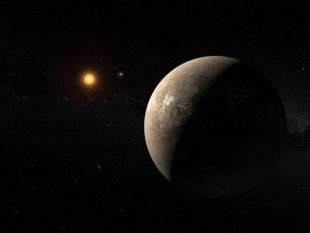 Artist's impression of the planet orbiting Proxima Centauri, the closest star to the solar system.