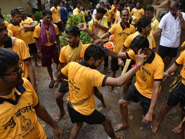 Dahi Handi Celebrations at a Kalachowki mandal, Mumbai.