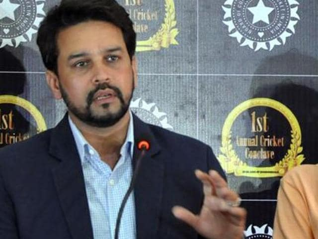 """Indian cricket board president, Anurag Thakur (left) and secretary, Ajay Shirke at a press conference. Quoting BCCI Secretary Ajay Shirke, reports in a section of the media had said that a member of the Lodha panel had made accusations that cricket selectors took """"sexual favours"""" while picking players."""