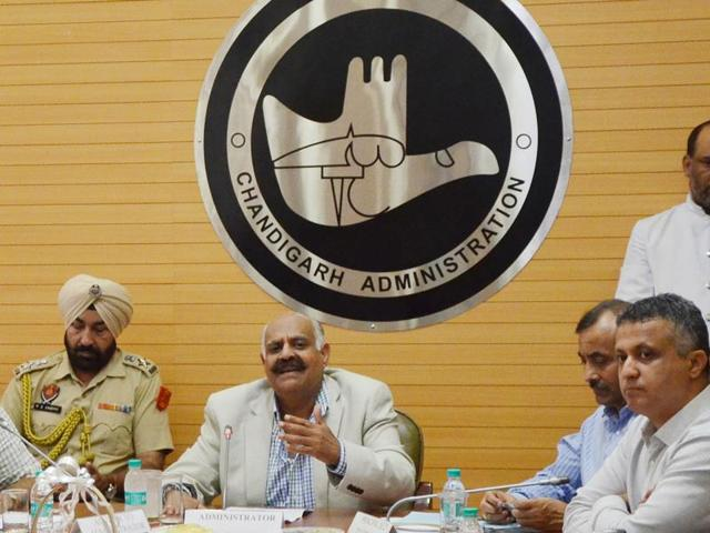 UT administrator VP Singh Badnore at a meeting with officer at the UT secretariat on Wednesday. To his right is UT adviser Parimal Rai and to his left is UT finance secretary Sarvjit Singh.