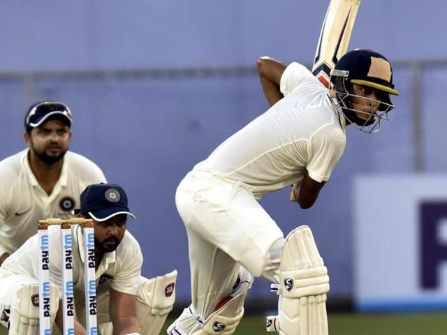 India Red's Ahinav Mukund (right) and Sudip Chatterjee scored centuries to halt the bowlers' domination with the pink ball  on the second day of their Duleep Trophy tie against India Green in Greater Noida on Wednesday.