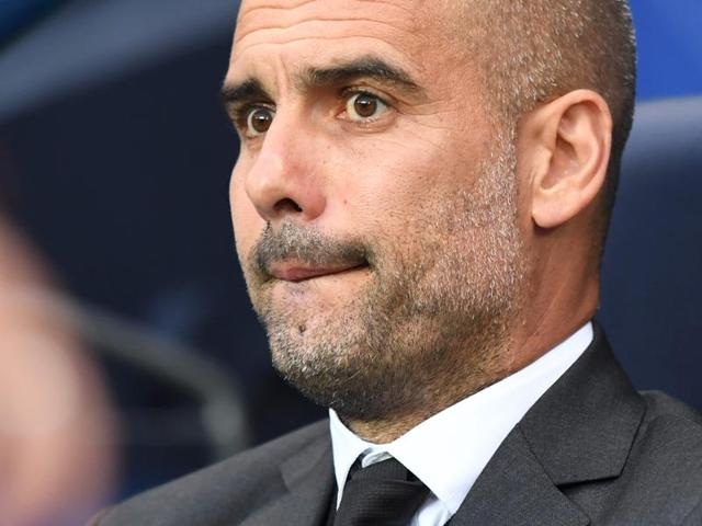 Manchester City manager Pep Guardiola reacts during their Champions League match.
