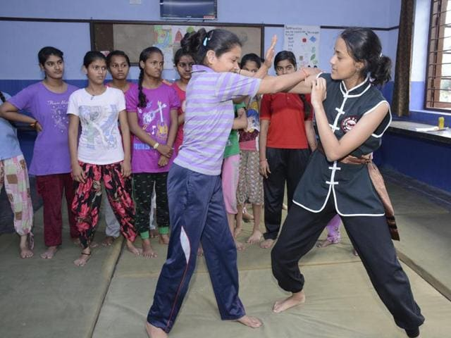 The girls were taught by a 16-year-old from USA who holds a brown belt in Taekwondo.