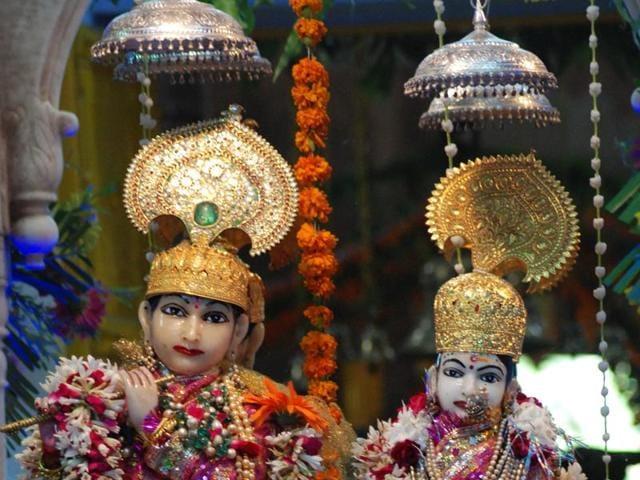 Laxminarayan temple (Birla mandir) decked up on the eve of Janmashtami in Bhopal on Wednesday.