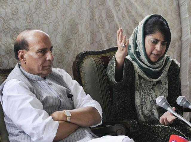 Home minister Rajnath Singh and J-K chief minister Mehbooba Mufti at a press conference in Srinagar on Thursday.