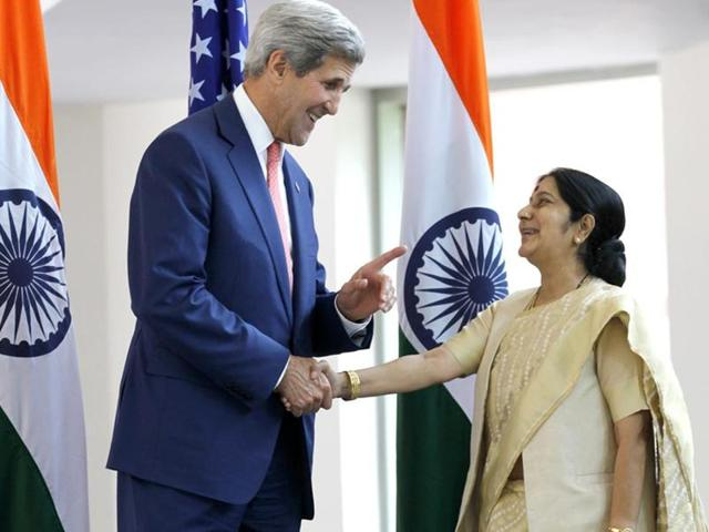 US secretary of state John Kerry with external affairs minister Sushma Swaraj in New Delhi.