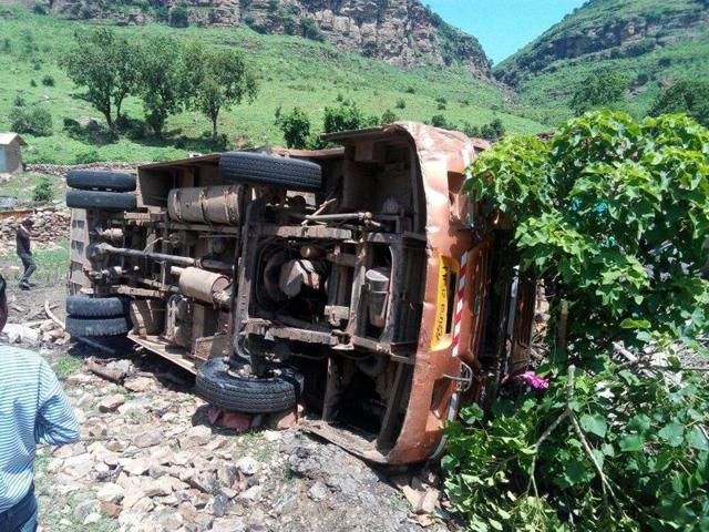 accident in Sidhi,bus overturns at Sidhi foothills,mishap