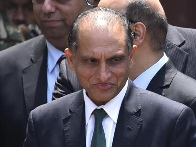 Pakistan's foreign secretary Aizaz Ahmad Choudhary at the office of ministry of foreign affairs in New Delhi.(HT File Photo)