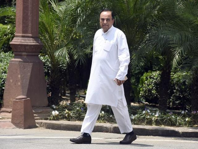 Subramanian Swamy after attending monsoon session of Parliament in New Delhi.