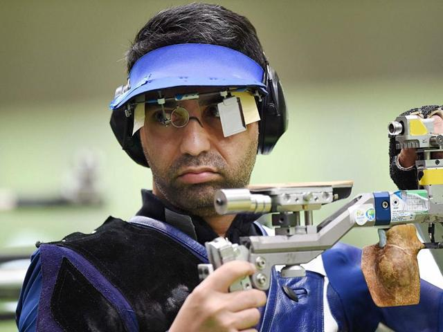 Indian's shooter Abhinav Bindra competes in the Men's 10m Air Rifle qualifying round at Rio Olympics 2016.