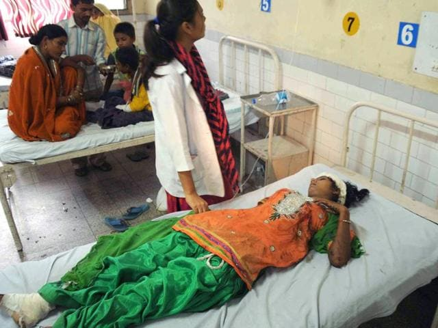 The injured girl getting medical treatment at civil hospital in Ludhiana on Wednesday.