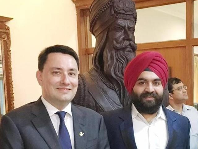 French ambassador Alexander Ziegler  and businessman Harjinder Singh Kukreja with the bust of Maharaja Ranjit Singh in Ludhiana on Wednesday.