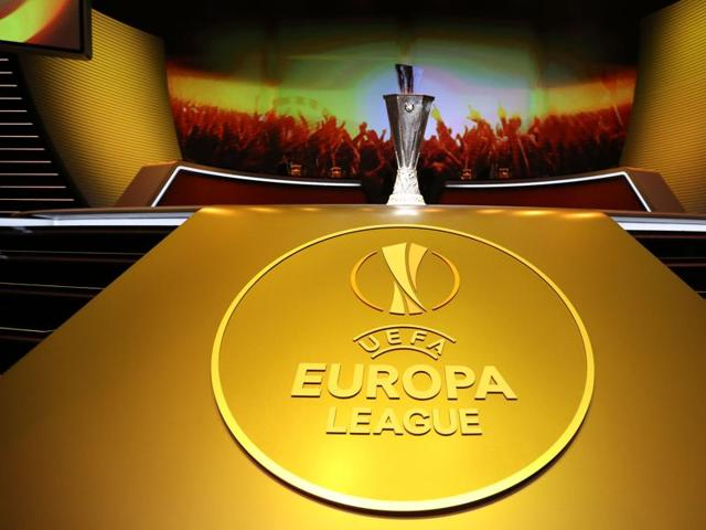 The UEFA Europa League trophy is pictured during the group stage draw ceremony.