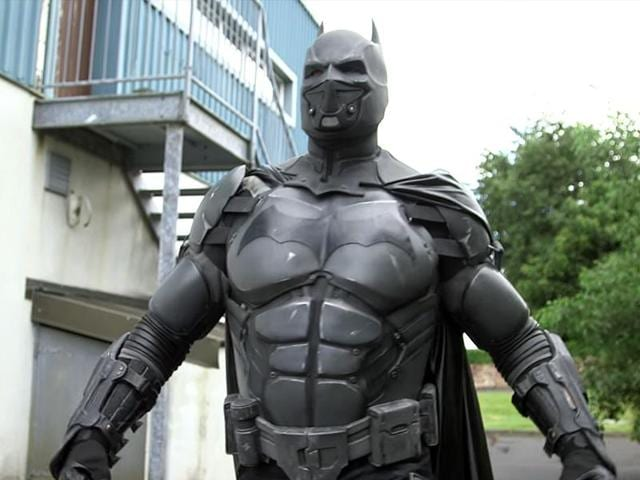 The bulky black-caped suit, made by Batman fan and special effects expert Julian Checkley, takes the title for 'the most functional gadgets on a cosplay suit'.