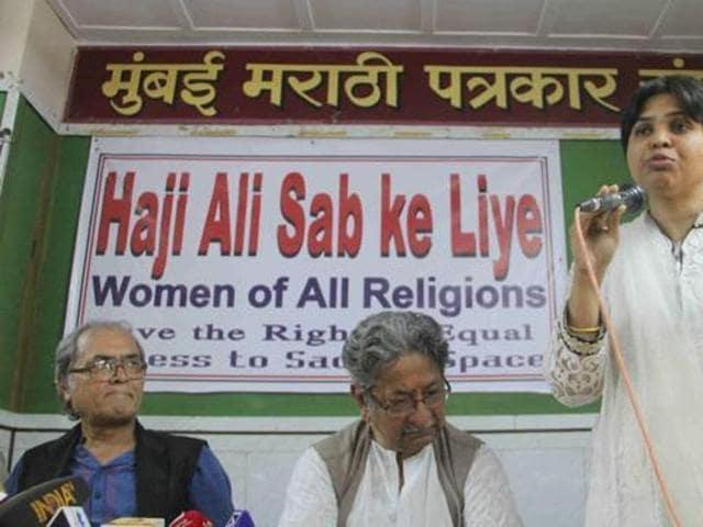 Activist Trupti Desai speaks at a press conference in Mumbai.