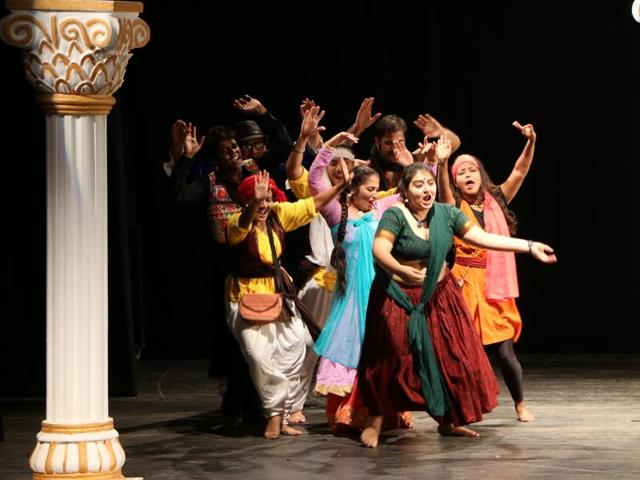 A still from The Company Theatre's play Piya Behrupiya, which is a Shakespearean comedy in the nautanki format.