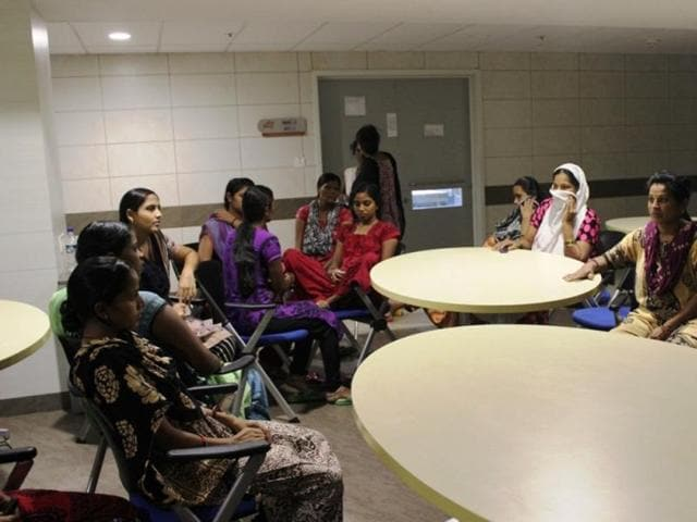 A group of pregnant women at the Akansha Hospital in  Anand, Gujarat.
