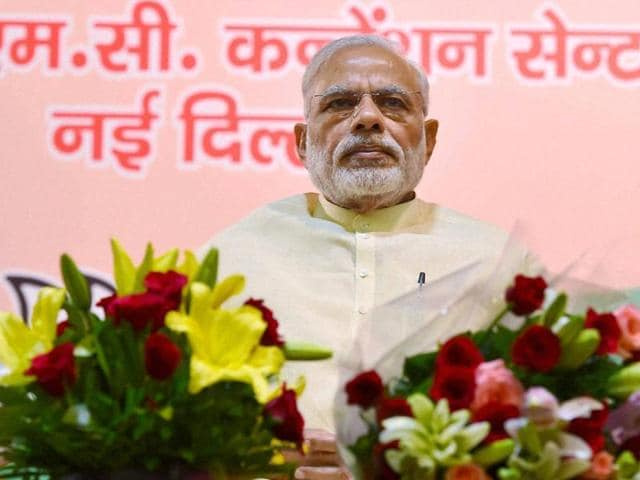 Prime Minister Narendra Modi at the concluding session of a party BJP meeting in New Delhi.