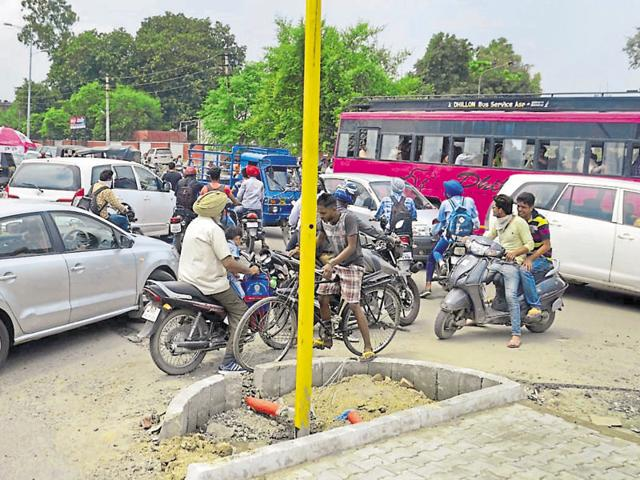 A traffic jam at an intersection in the absence of lights on the GT road in Amritsar on Wednesday.