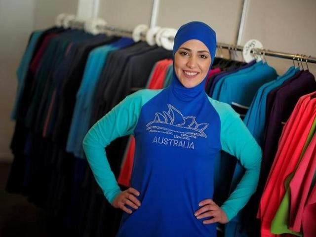 Model Salwa Elrashid models a 'burkini', designed by Lebanese-born Australian Aheda Zanetti at her fashion store in Sydney.