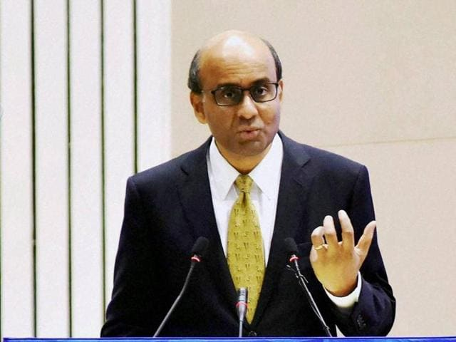 Singapore's deputy Prime Minister Tharman Shanmugaratnam delivers a speech at NITI Aayog's first annual lecture on Transforming India in New Delhi on Friday.