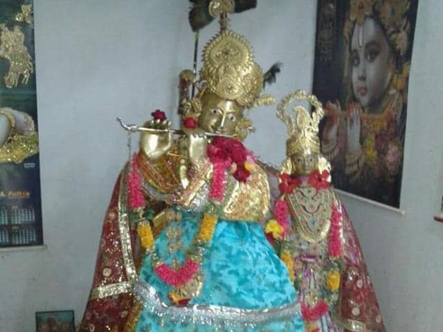 A gold idol of Lord Krishna at the Baba Bansidhar temple in Garhwa district.