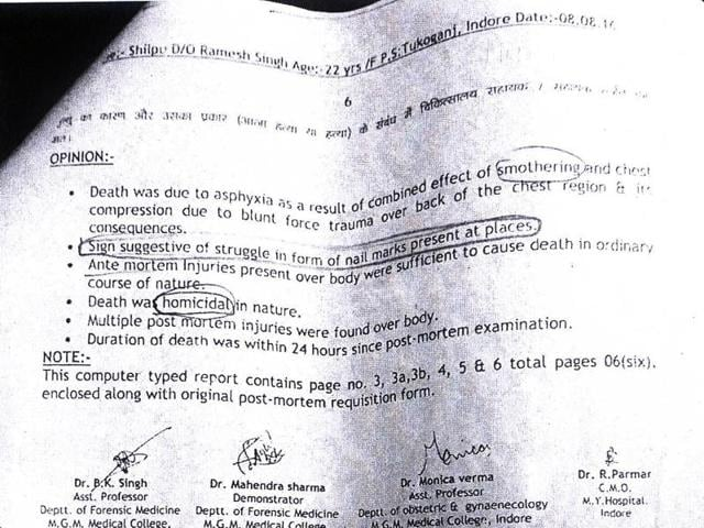 Excerpt from the autopsy report of Shilpu Singh Bhadoria's body, conducted at the MY Hospital in Indore on August 8.