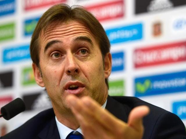 Spain's coach Julen Lopetegui looks on during a press conference in Las Rozas Football City.