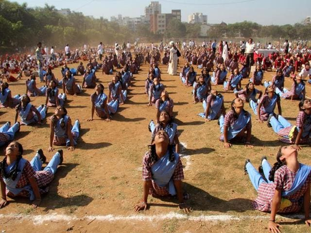 Practising yoga in the morning assembly will energise students before they start classes, said the education officer.