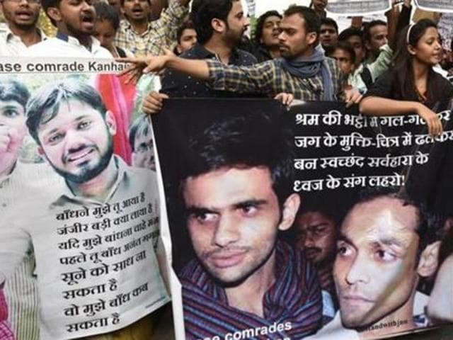 Kanhaiya Kumar celebrate the release of Umar Khalid and Anirban Bhattacharya with other JNU students in the New Delhi campus on March 18, 2016.